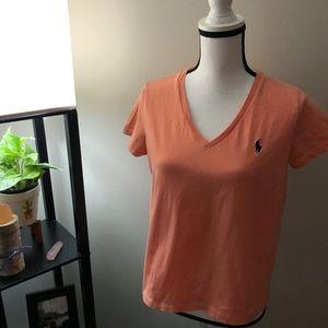 Ralph Lauren Orange Short Sleeve V-Neck Shirt